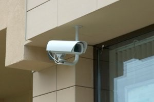 Business Security Cameras Installed On Building Exterior