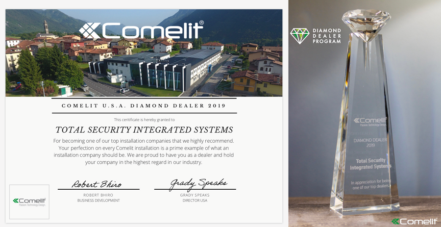 Total Security Integrated Systems - Comelit USA Diamond Dealer 2019 Top Installation Company